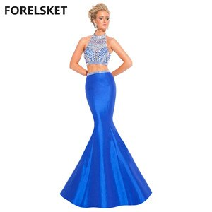Two Piece Mermaid Long Evening Dress Blue 2020 vestidos de festa Prom Dress White And Gold Crystal Evening Gown De Noche Sirena