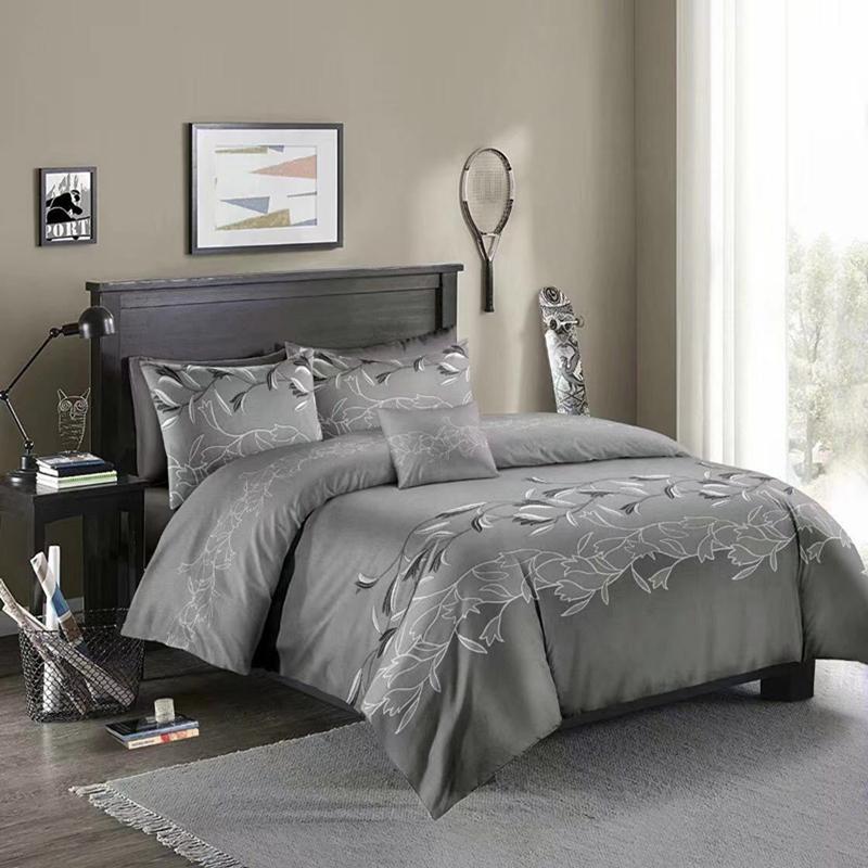 طقم غطاء لحاف بطبعة زهور ثلاثية الأبعاد ، طقم سرير كوين كينج مع كيس وسادة ، 50 قطعة