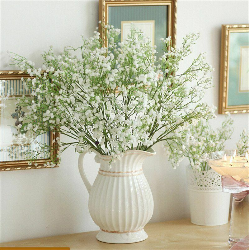 2/5/10 Uds flor Gypsophila flor falsa de seda ramo de flores de fiesta de boda decoración Artificial para el hogar flores Gypsophila DIY ramo de flores