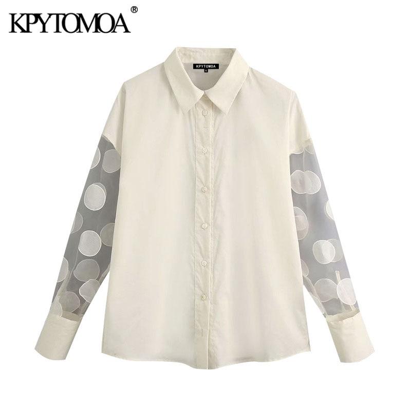 KPYTOMOA, moda 2020, Blusas con lunares de retales para mujer, Blusas Vintage, mangas transparentes, ropa de oficina, para mujer Camisas, Blusas elegantes