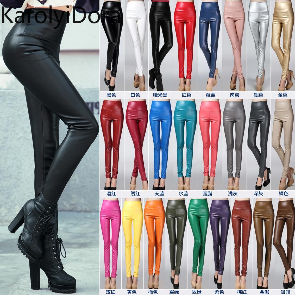 Женские плотные брюки, осенне-зимние женские тонкие бархатные брюки из искусственной кожи, сексуальные эластичные Стрейчевые узкие брюки-к...