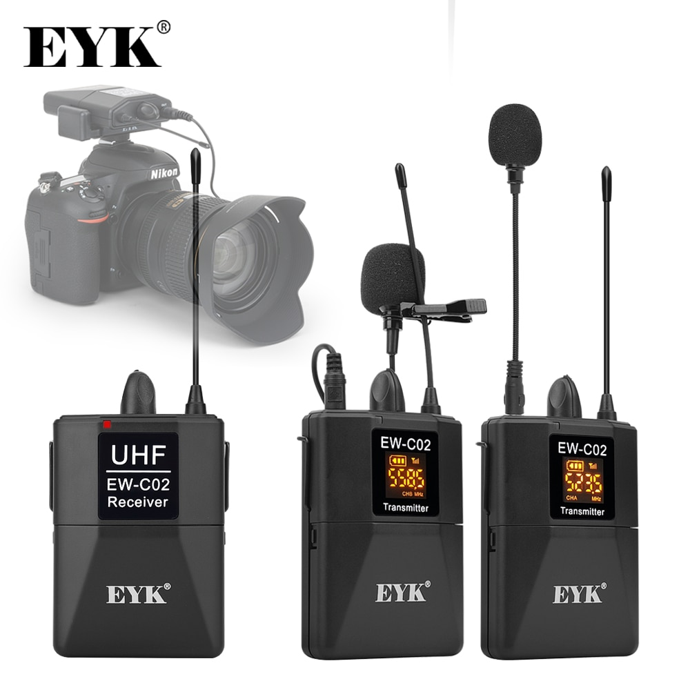 free shipping professional wireless microphone handheld lavalier headset dual channel true uhf adjustable frequency home karaoke EYK EW-C02 30 Channel UHF Wireless Dual Lavalier Microphone System 60m Range for DSLR Camera Phone Interview Recording Lapel Mic