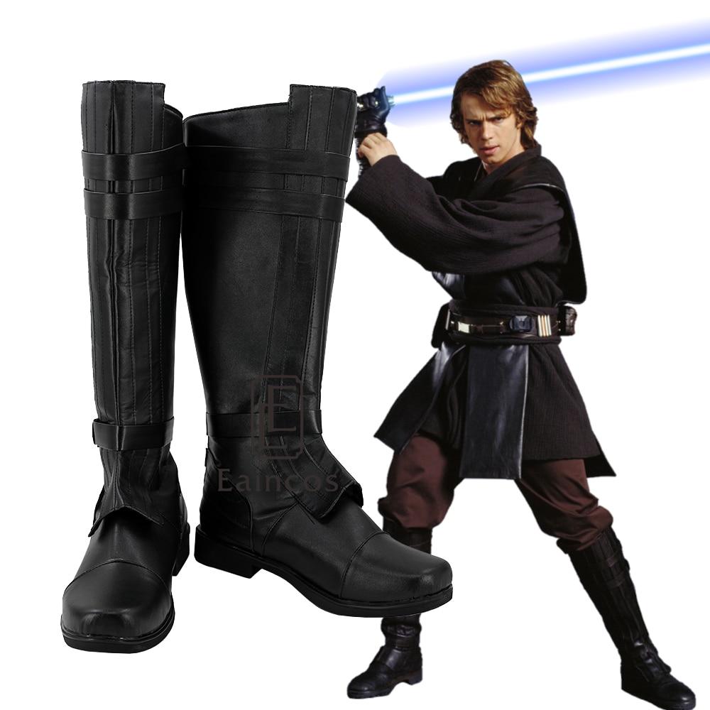 Zapatos de Cosplay de Anakin Skywalker de Star Wars, botas a medida...