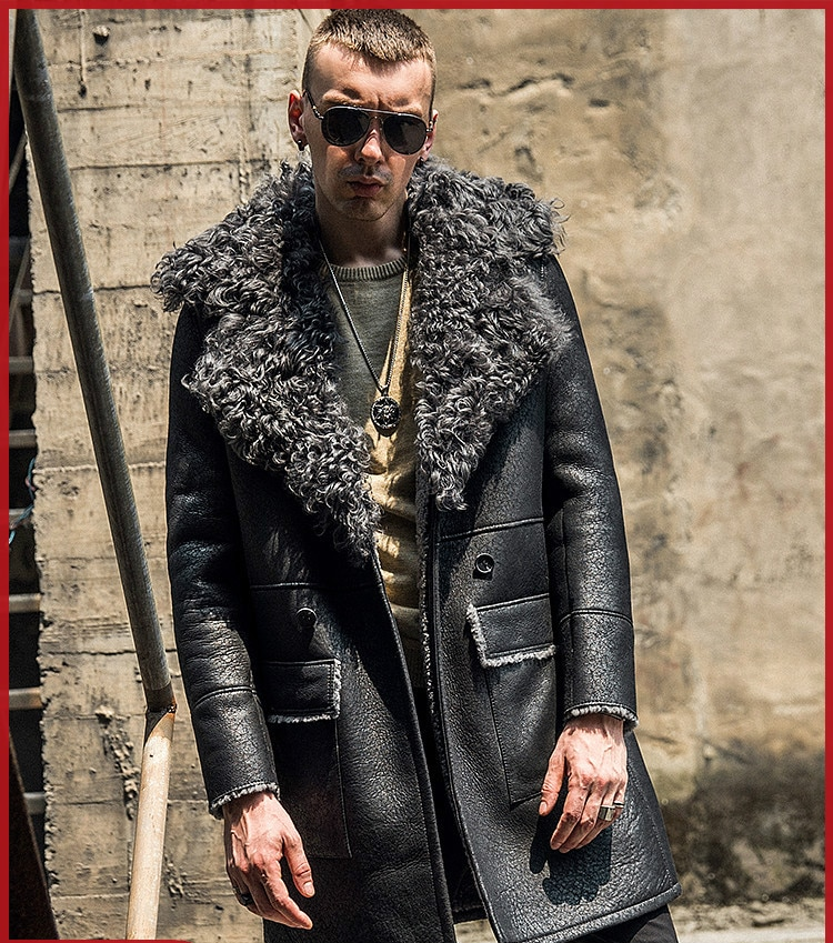 Fashion Big Fur Collar Sheeepskin Shearling Leather Coat Men Long Leather Fur Coat Thick Jackets