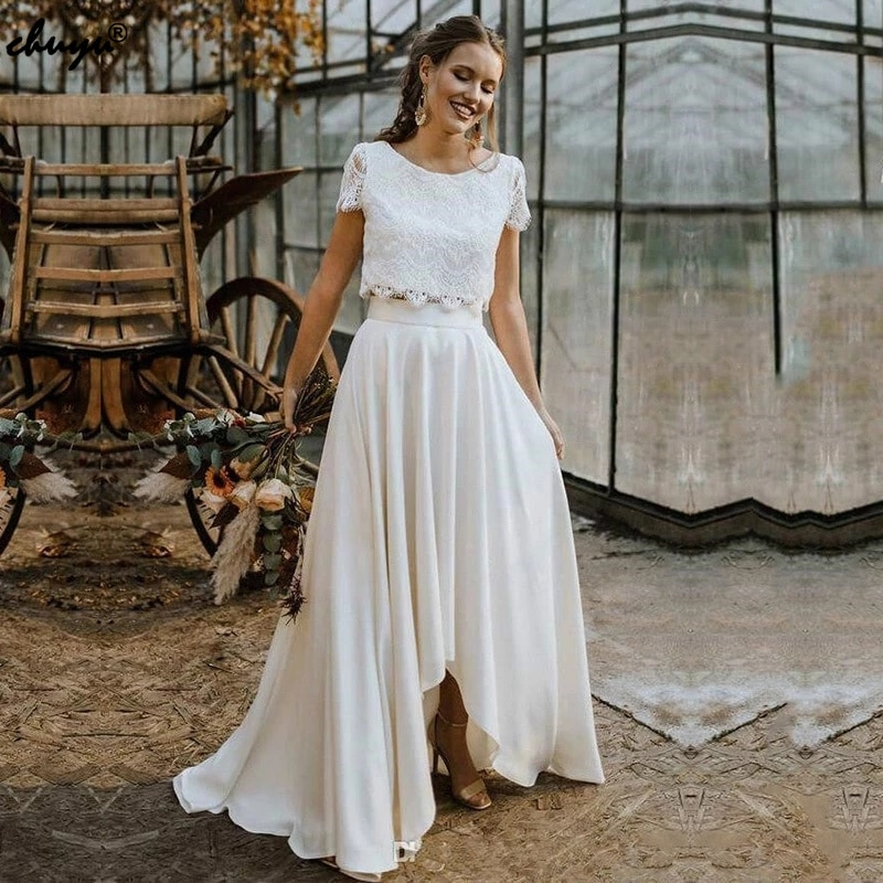 Get ChuYu Two Pieces Graceful Summer Bridal Wedding Gowns  A-line Short Sleeves Sample Scoop Neckline Formal Occasion 2021