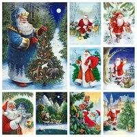 momoart diamond embroidery christmas tree diamond painting full drill square santa picture rhinestones mosaic winter home decor