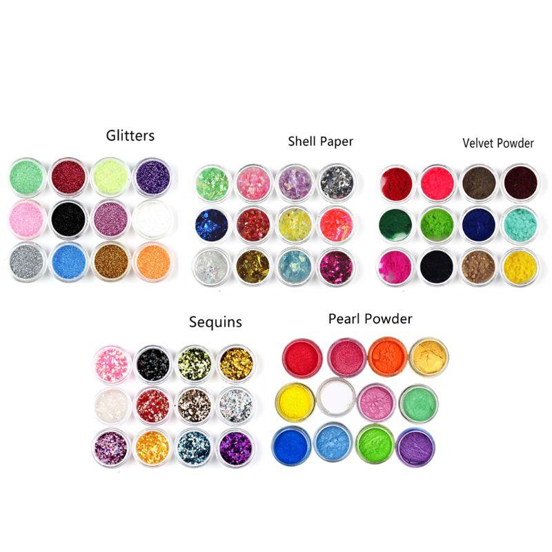 60Pcs Resin Casting Mold Glitters Sequains Mica Pearl Pigment Large Kit Makeup Jewelry Fillings Nail Art Jewelry Making HX6F