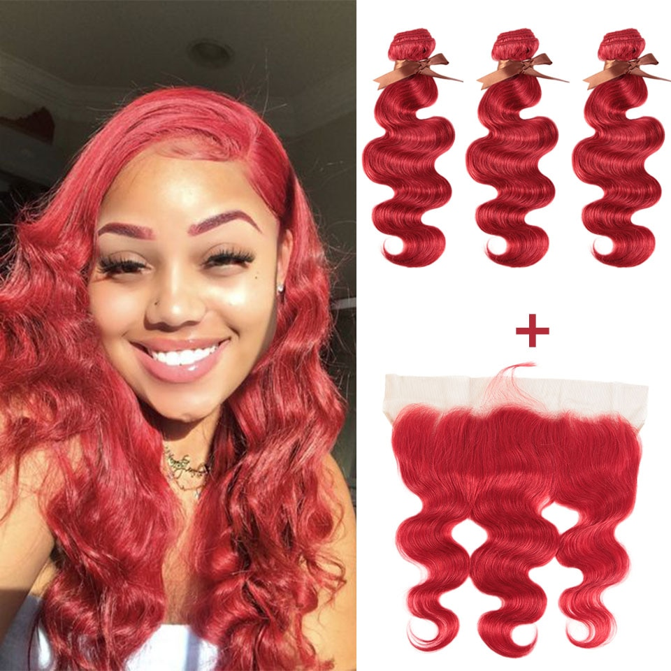 Фото - Remy Forte Body Wave Hair Bundles With Closure Red Bundles With Frontal Remy Brazilian Hair Weave Bundles 3/4 Red Hair Bundles mermaid with red hair