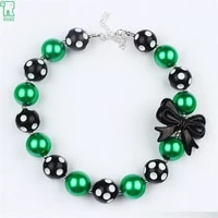 wholesale 5pcs baby girls beaded statement necklace children chunky bubblegum black bow necklace for kids