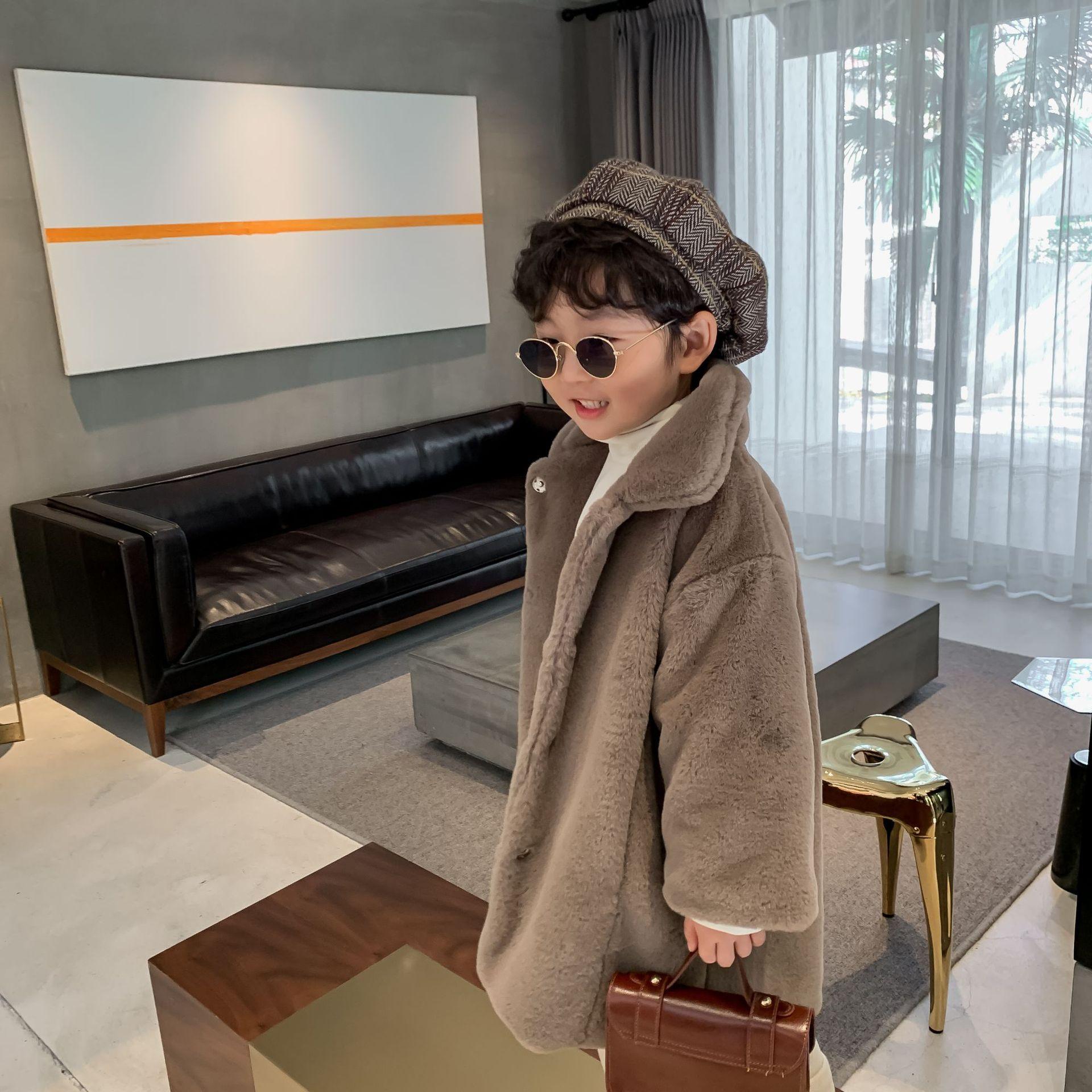 Детская куртка, новинка зимы 2020, меховое пальто средней длины для мальчиков и девочек, однобортное плотное Детское пальто-1