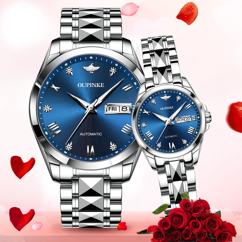 Couple automatic mechanical wristwatch top brand luxury business watch tungsten steel watchband waterproof Fashion lover's watch