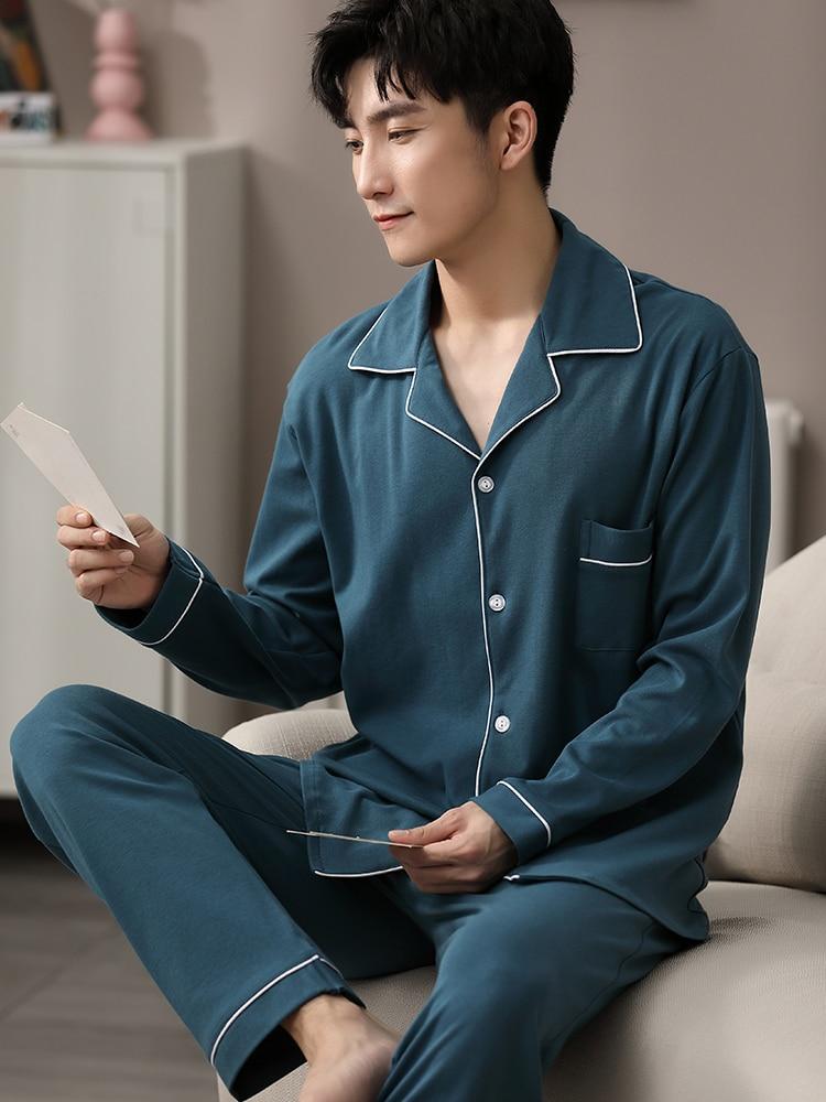 Autumn Winter 100% Cotton Pijama for Men Dormir Lounge Sleepwear Pyjamas Blue Bedgown Home Clothes Man Bedroom PJ Cotton Pajamas
