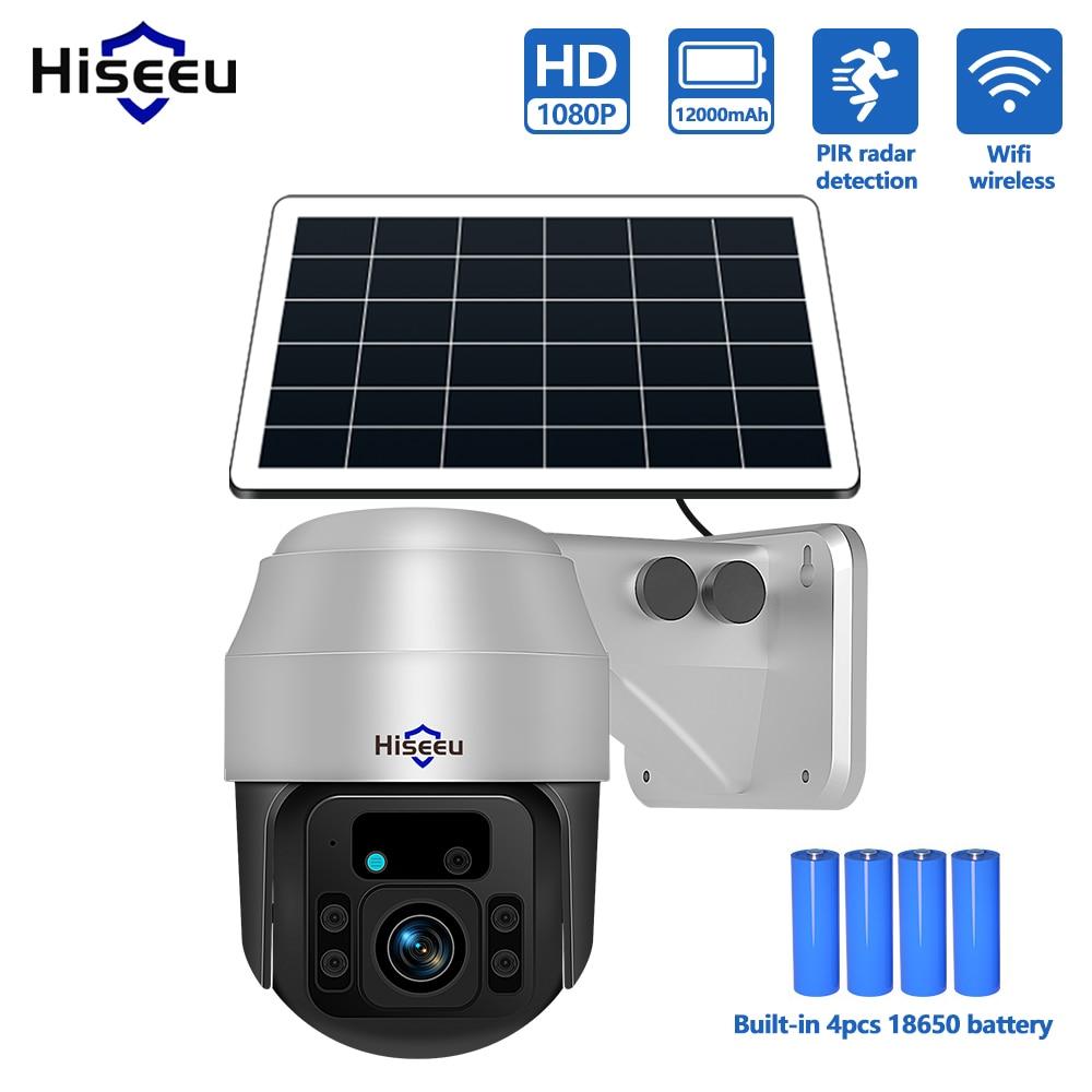 Hiseeu الشمسية كاميرا IP 1080P PTZ واي فاي كاميرات الدوائر التلفزيونية المغلقة في الهواء الطلق 4 قطعة بطارية قابلة للشحن لوحة الأمن الذكية اللاسلكية ...