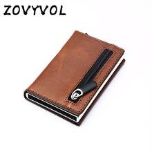 Мужской металлический бумажник ZOVYVOL, небольшое портмоне с радиочастотной идентификацией, плоский держатель для кредитных карт и удостовер...