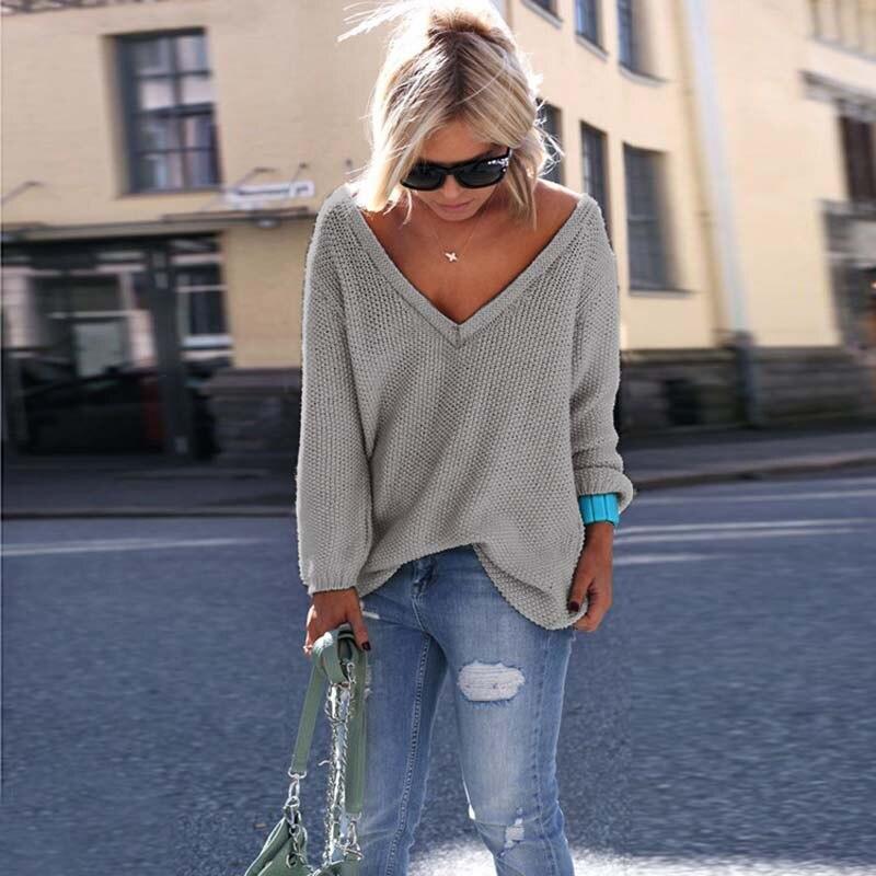 Сексуальный вязаный свитер с v-образным вырезом, женский свободный свитер большого размера, Женский пуловер, женский свитер с длинным рукав...