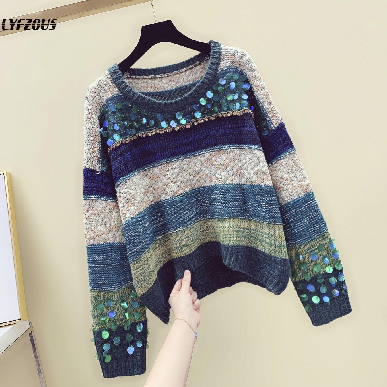 Mulheres de Lantejoulas Camisola Pulôveres E camisolas Beading Manga Comprida Coreano Moda Knit Sweater Rainbow Listrado Solto Jumper Sueter Mujer