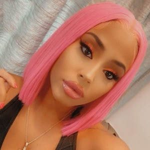 Pink Shoulder length Straight Bob Synthetic Lace Front Wigs With Natural Hairline For Female Clavicle Hair Lolita Wigs  Cosplay