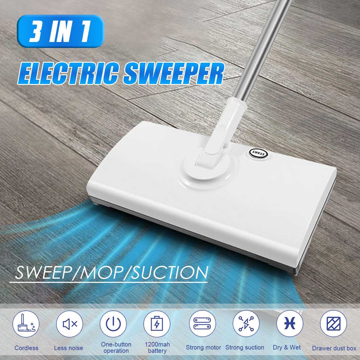 Mopa eléctrica inalámbrica 3 en 1, escoba limpiadora de suelo con carga USB, escoba de mano con rotación de 360, aspiradora para el hogar