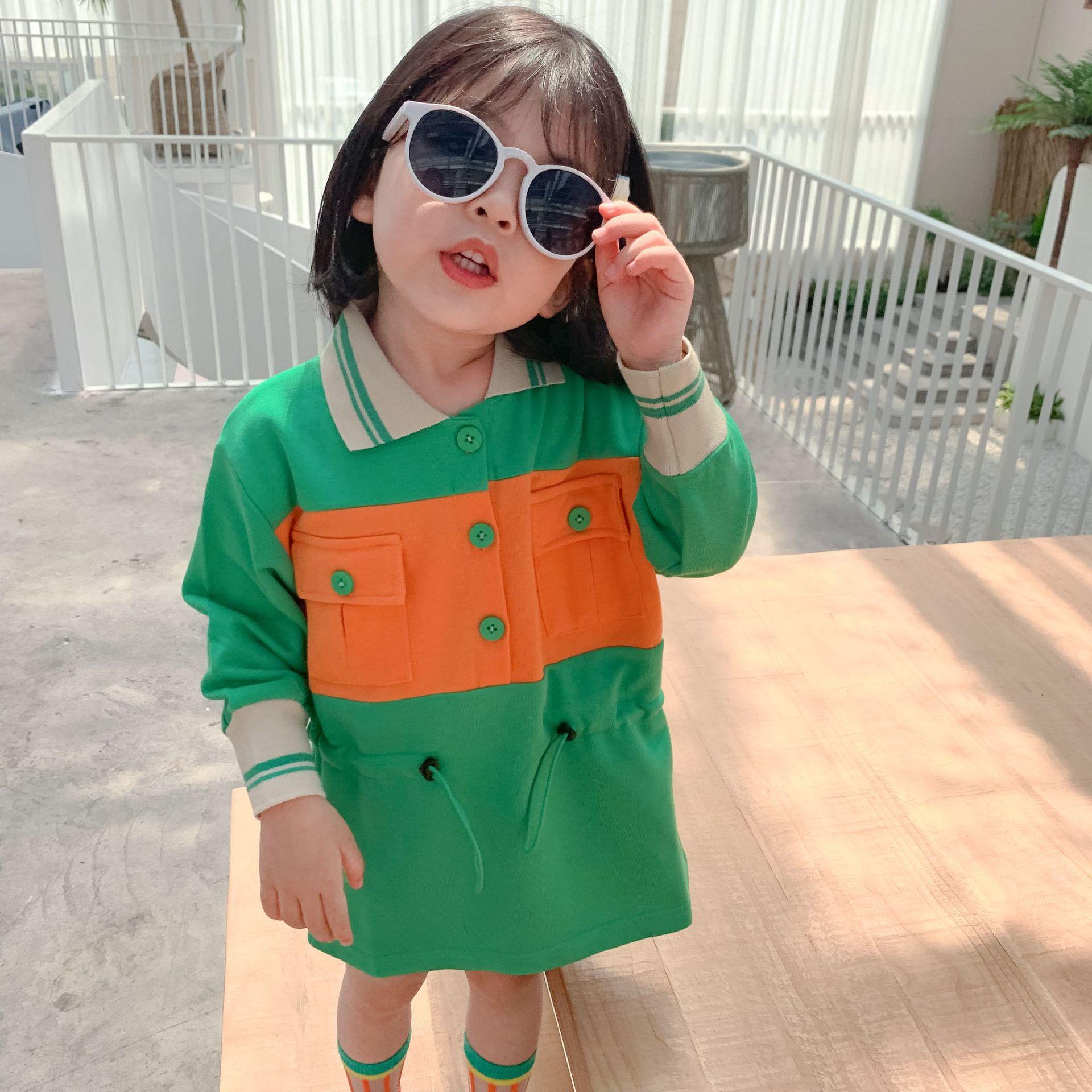 WLG/Повседневные платья для девочек Детская осенняя Лоскутная желто-зеленая повседневная одежда с отложным воротником и длинными рукавами д...