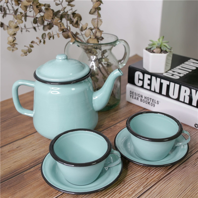 Vintage Enamel kettle Set Coffee Tea Pot Water Cup  Kitchen