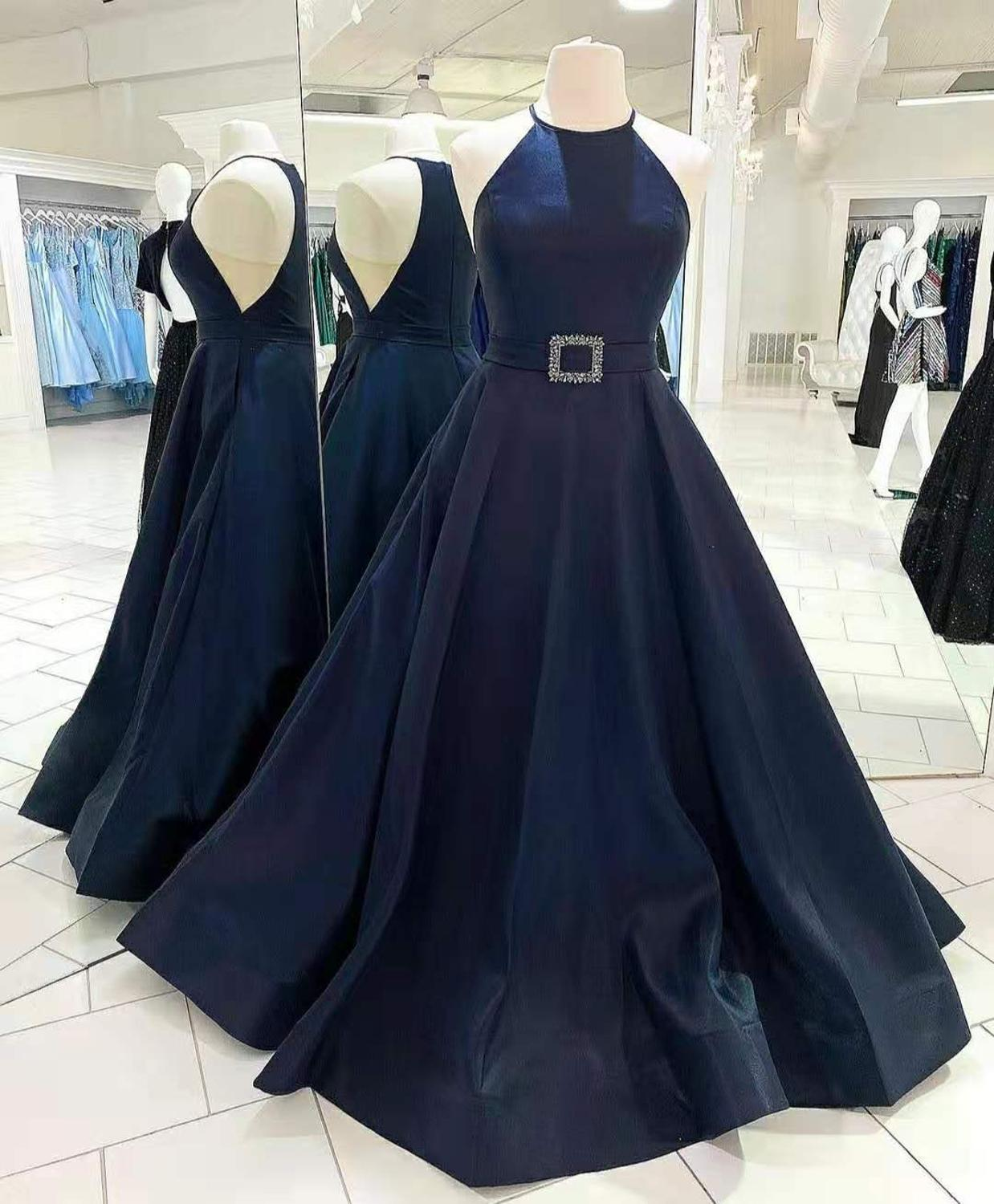 Sexy A-Line Halter Long Satin Evening Dresses with Pockets Floor Length Zipper Back Navy Blue Formal Party Dress for Women