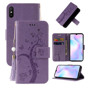 Cartoon Embossed Cat Flower Case For Xiaomi Redmi 9A 9 A 9C Luxury Flip Leather Card Wallet Cover for Redmi 9 8 7 A 9C Coques