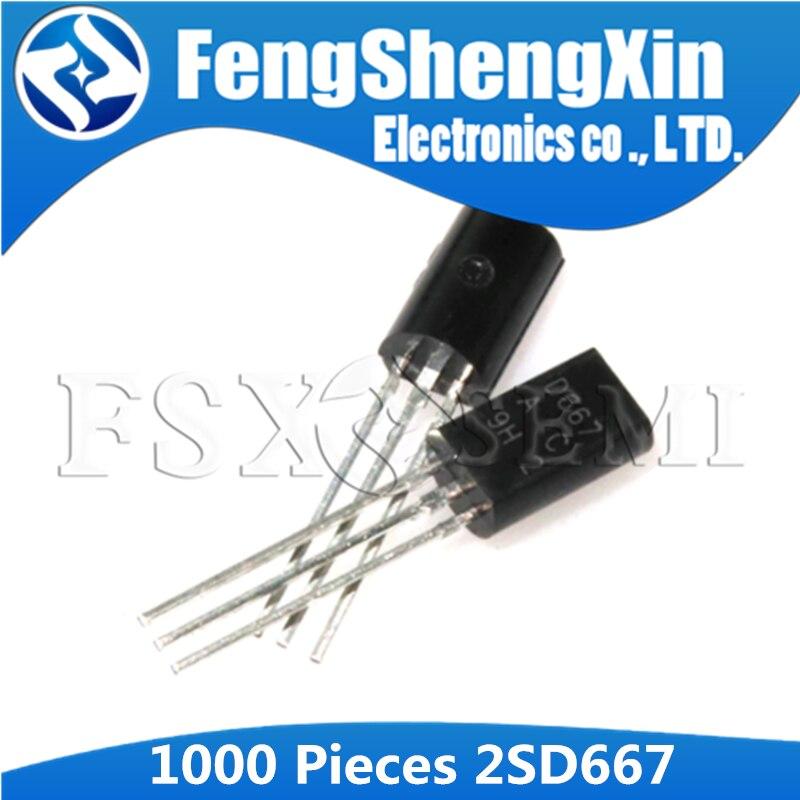 1000 unids/lote 2SD667 D667 2SD667AC D667AC de baja potencia TO-92L