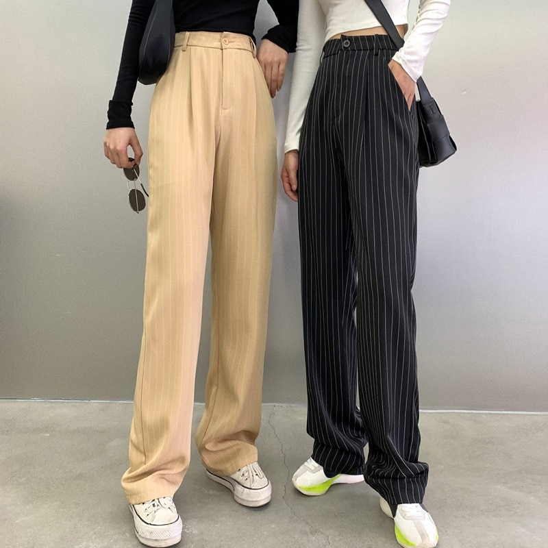 2021 Spring and Summer New Fashion Vintage Stripe Straight Loose Casual Pants Women's Hong Kong Styl