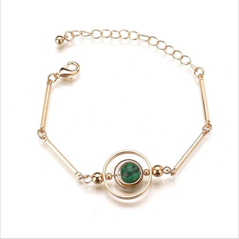 Pulsera redonda de oro Natural de cristal de moda, accesorios de joyería con encanto femenino, pulsera coreana para mujer