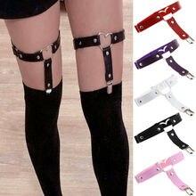 6 Colors Sexy Women Elastic Garter Belt Harness Punk Gothic Leather Heart Leg Ring Suspenders