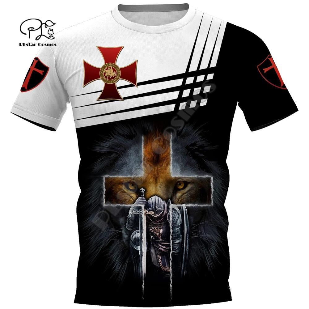 Mens women Knights Templar Wolf t shirt Summer 3d tshirts Warrior print black white red tees casual short sleeve tops outwear