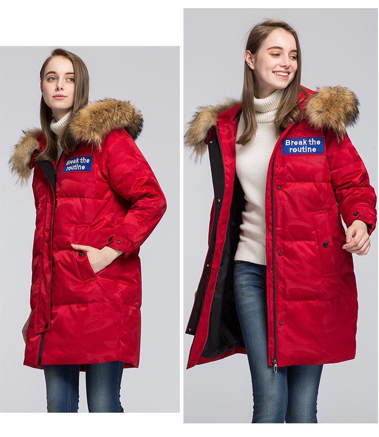 Mulheres de alta qualidade casal canadense parka ganso jaqueta longo inverno espessamento outerdoor casaco grande gola pele guaxinim