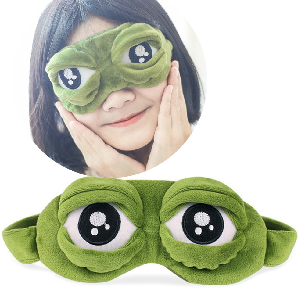 Lindo máscara de ojos con cubierta de la triste 3D rana verde ojo máscara cubierta relajarse durmiendo Resto de dormir Anime regalo belleza gafas