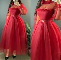 arabic high neck long sleeve tulle evening dresses with pockets ankle length green abendkleider robes de soir%c3%a9e for women
