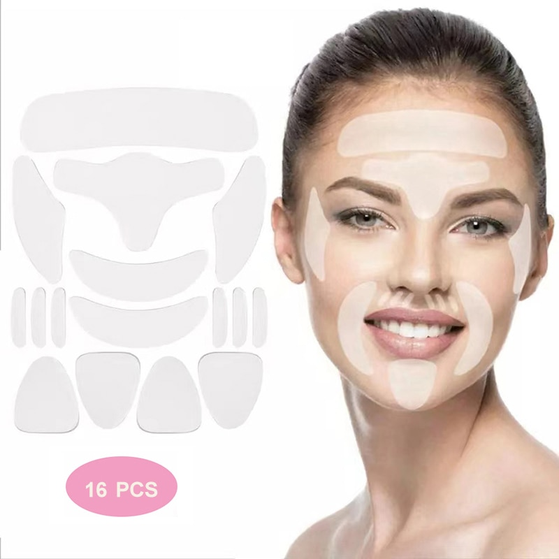 16pcs Reusable Thin Face Stickers Facial Forehead Cheek Line Wrinkle Sagging Skin Lift Up Forehead Anti-Wrinkle Patch Face Care