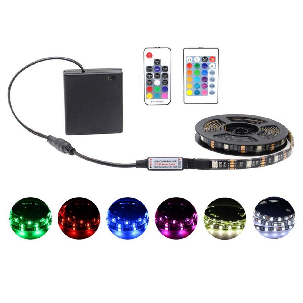 Tira de luces Led RGB con batería de 5050, 5V CC, Control remoto, cambio de Color, cinta impermeable, tira de luces