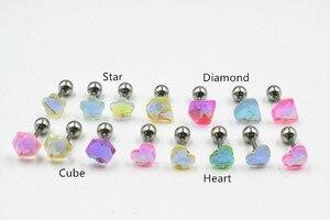 Lot100pcs Body Jewelry-  Luminous Ear Studs/Earring Stainless Steel Helix Bar Upper Earring Body Piercing 16g New