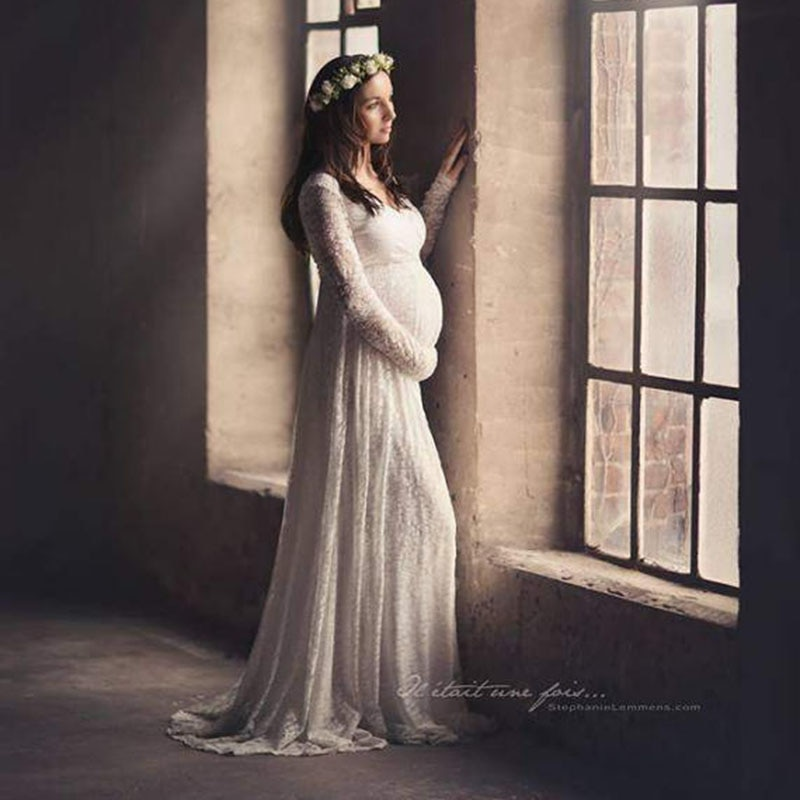 Elegant Lace Maternity Dress Photography Props Sexy V Neck Maxi Gown Wedding Dresses Long Sleeve Pregnancy Dress for Photo Shoot enlarge