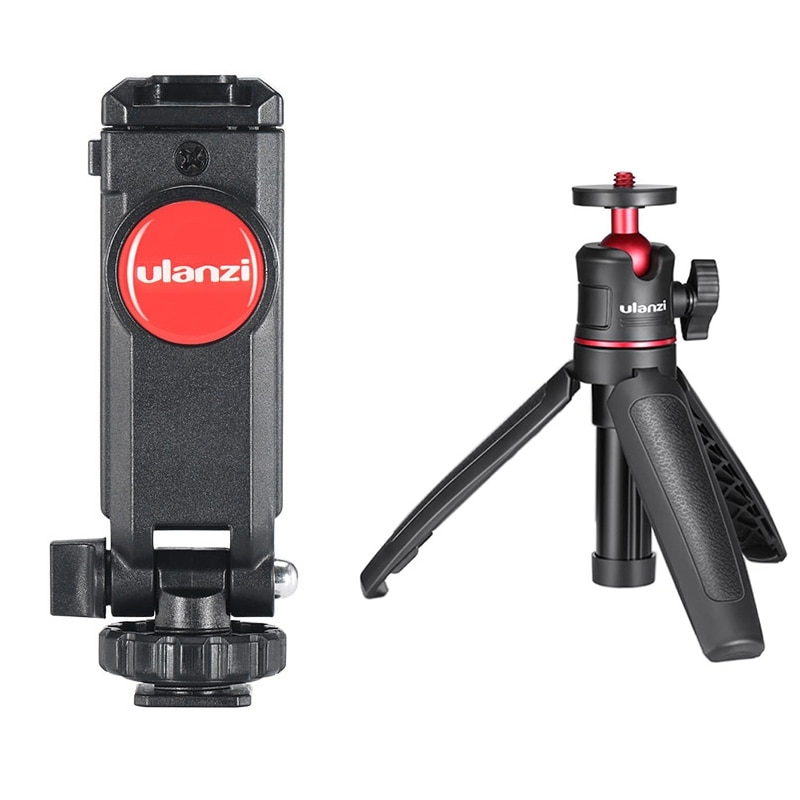 Ulanzi ST-06, portafotos Vertical, soporte de montaje para teléfono en cámara, montaje ajustable con MT-08 Mini trípode portátil de escritorio