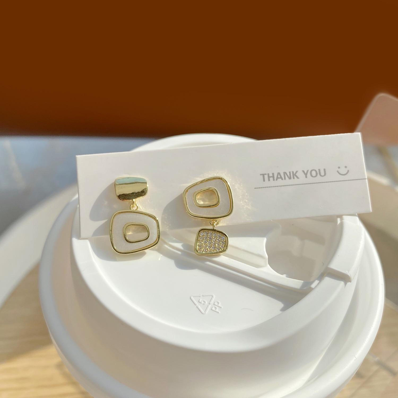 jewelry design Luxury 14K Real Gold Asymmetric Geometric Simple Hollow Stud Earrings for Women Cubic Zircon ZC Earrings  - buy with discount