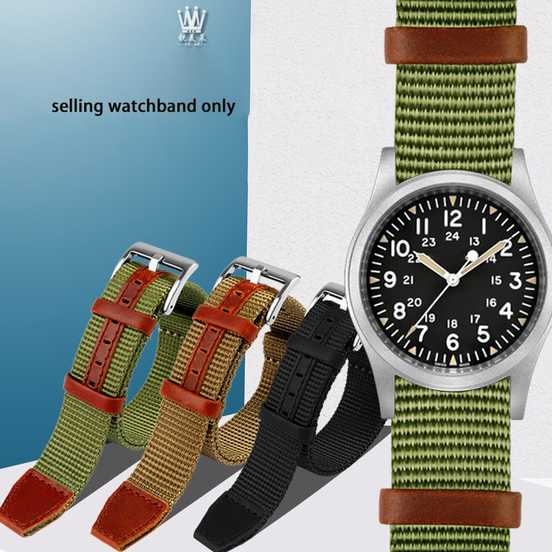 High quality canvas watch strap is for Hami Khaki field battle NATO hedgehog Sony h69439931 / 01 nyl