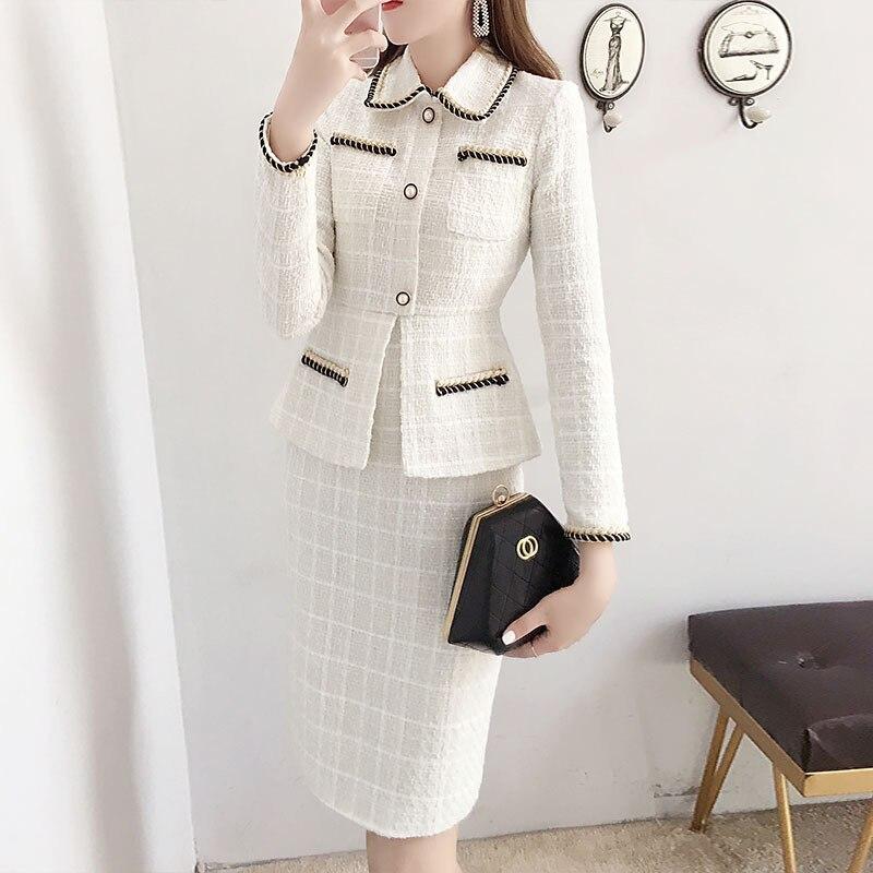 فستان تويد نسائي عتيق منقوش ، صوف ، أنيق ، مكتب ، مقاس كبير ، ربيع ، خريف ، 2020