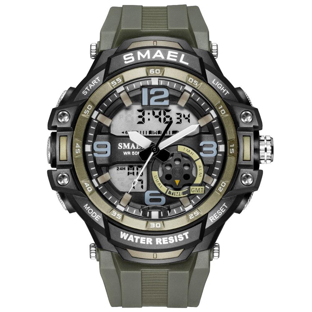 Smael Outdoor Sport Watch Men Alarm Clock Army Green Waterproof Military Watches Male Led Display Shock Digital Quartz Watch