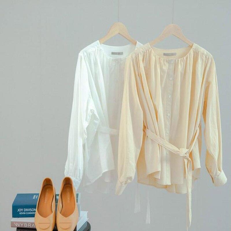 Coton blanc hauts et chemisiers coréen à manches longues chemises mignonnes Lolita Blouses douces col rond haut pour femme