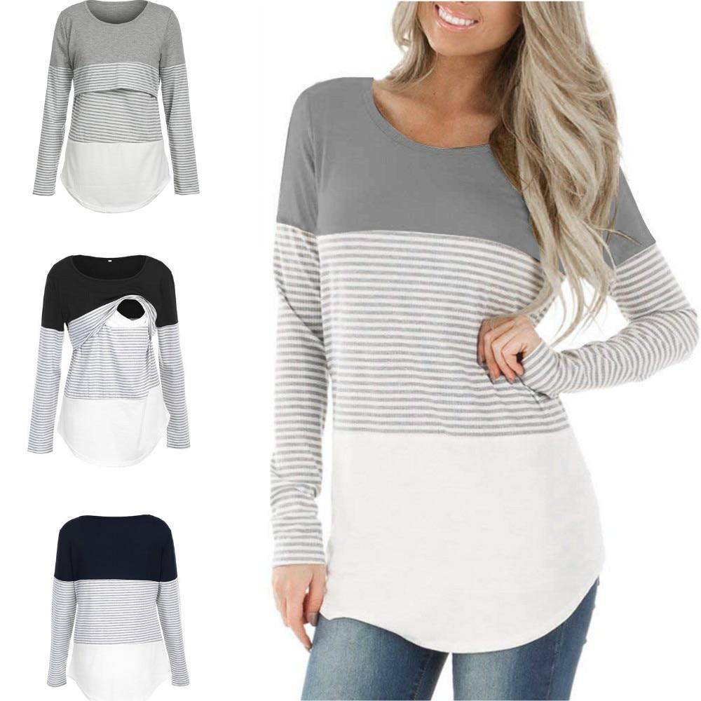 Camiseta de maternidad a rayas de manga larga maternidad superior de lactancia para mujer camiseta suelta de embarazo ropa camiseta