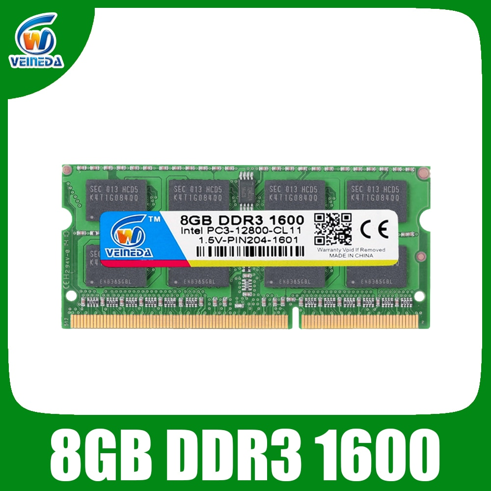VEINEDA ميموريال ram DDR3 8gb 1333 ram-memoria-ddr3 1600Mhz ل إنتل AMD Sodimm ddr3 8gb pc3-12800 204pin
