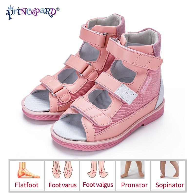 Princepard Children Sandals for Girls Princess Leather Orthopedic Shoes Pink Summer Toddler Kids Corrective Sandals Arch Care