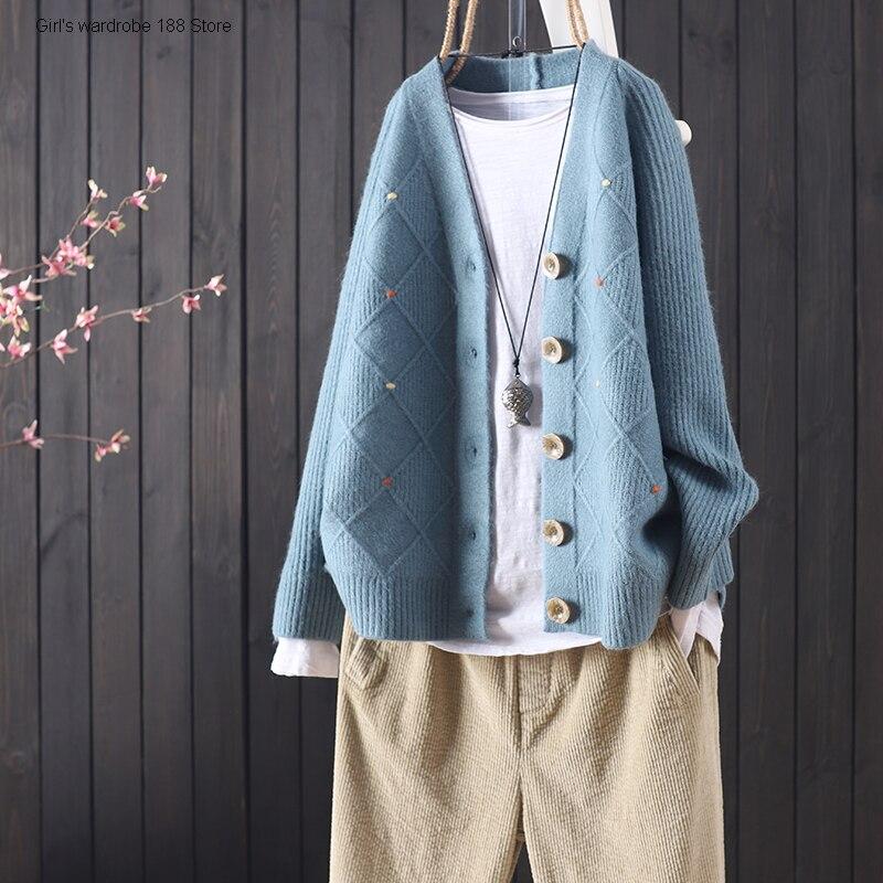 الخريف والشتاء جديد فضفاض بلون الكورية الأساسية نسج الغزل طويلة الأكمام زر سترة المرأة سترة