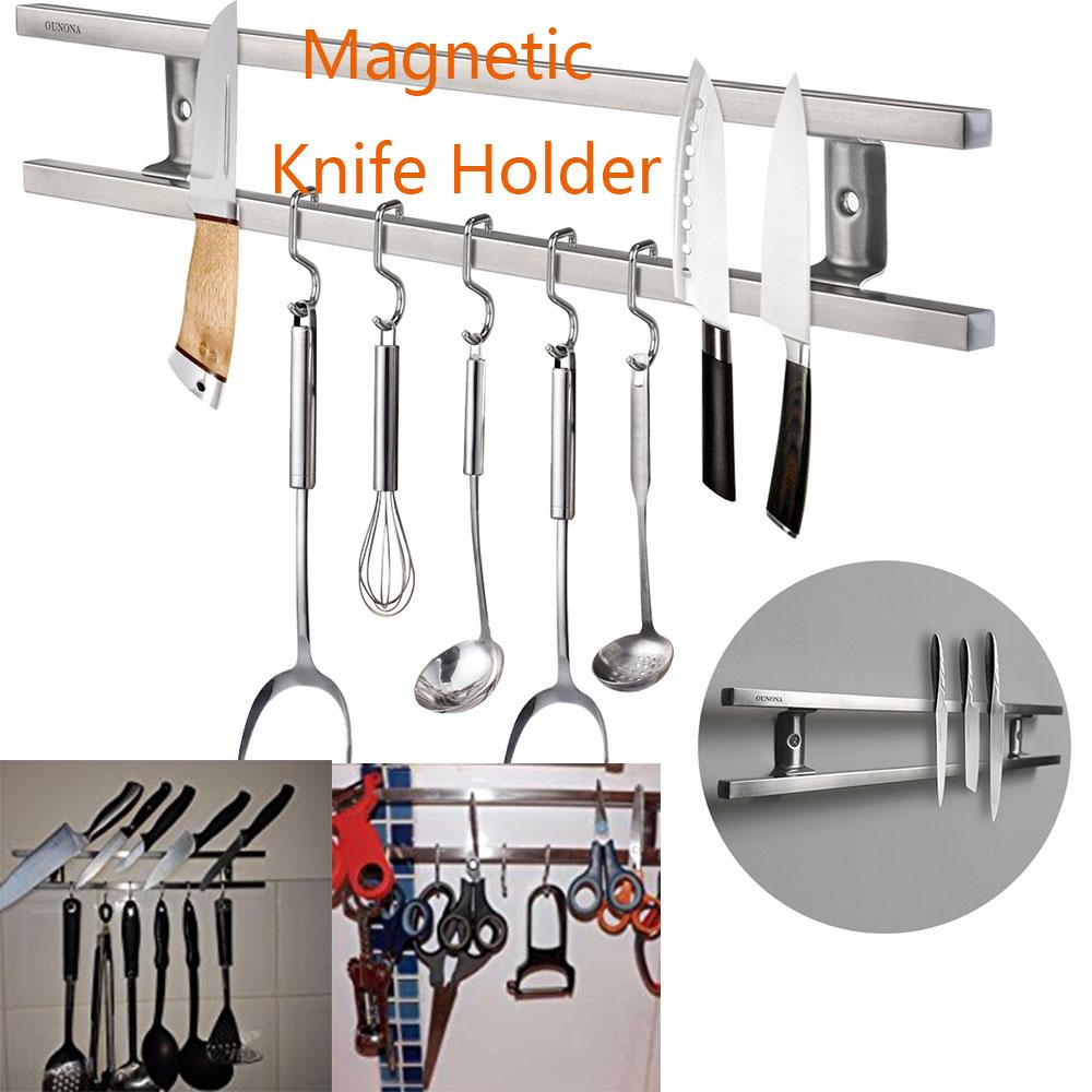 Suporte de faca magnético montado na parede barra dupla rack de faca organizador de cozinha rack de armazenamento para facas utensílios e conjuntos de cozinha