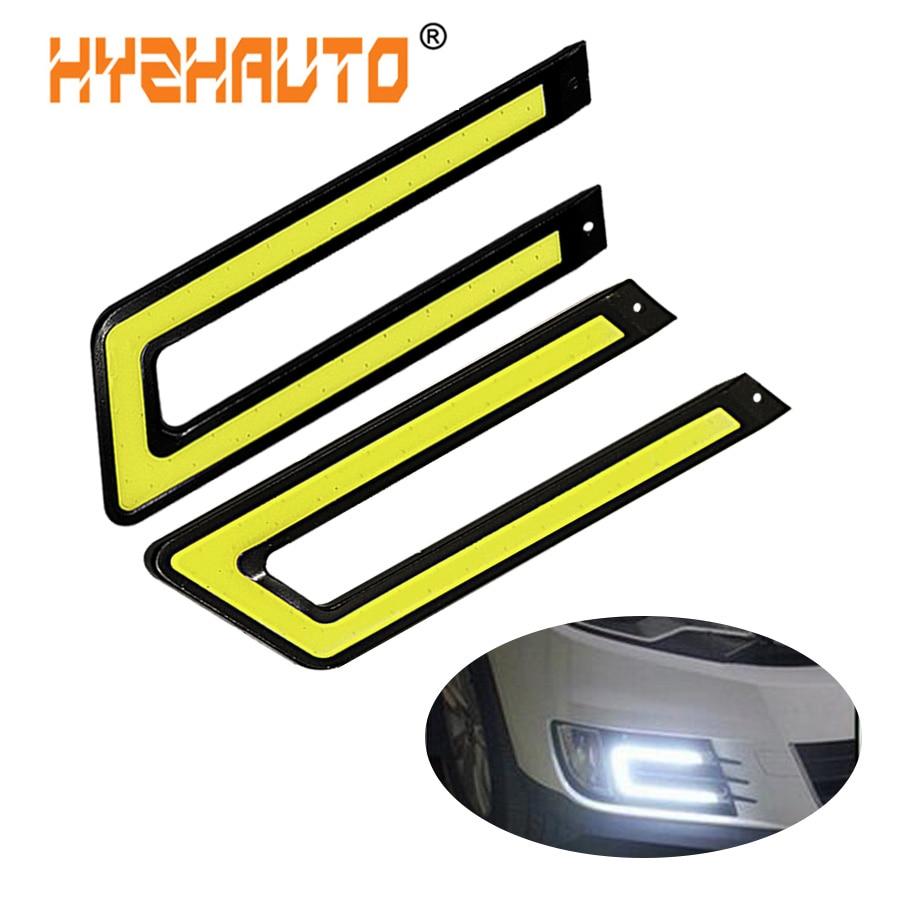 HYZHAUTO 2 шт. u-образный COB Дневной ходовой светильник DRL автомобильная светодиодная передняя противотуманная фара белый светильник DC12V источни...